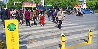 В Китае установили светофоры с водораспыляющими установками, чтобы люди не переходили дорогу на красный свет