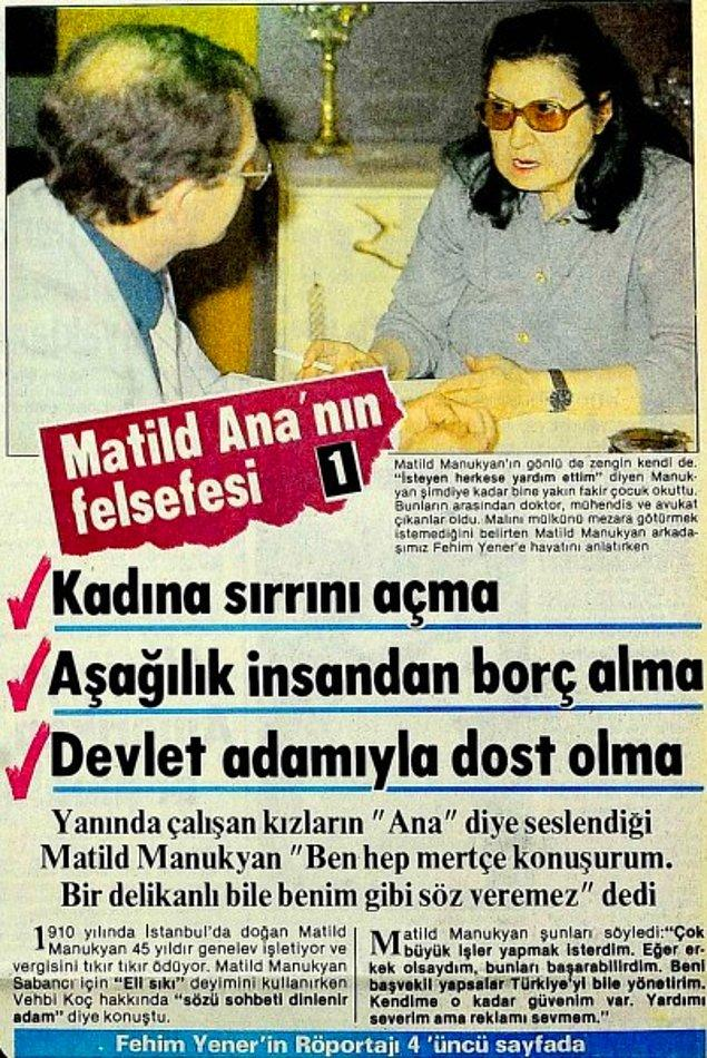 Matild Manukyan, 2001 yılında kalp krizi sebebiyle hayatını kaybetti ve çok konuşulan bir miras bıraktı.