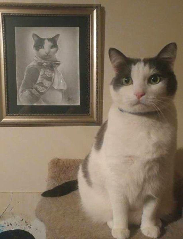 18. Sevgilisine yıl dönümü hediyesi olarak kedisinin portresini veren hayvan sever sevgili. 😌