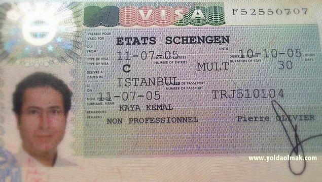 10. Diyelim ki Euro'nun karşısına cengaver gibi dikildiniz ve Avrupa ülkesine gitmek istediniz. Buyrun size bir adet Schengen vizesi!