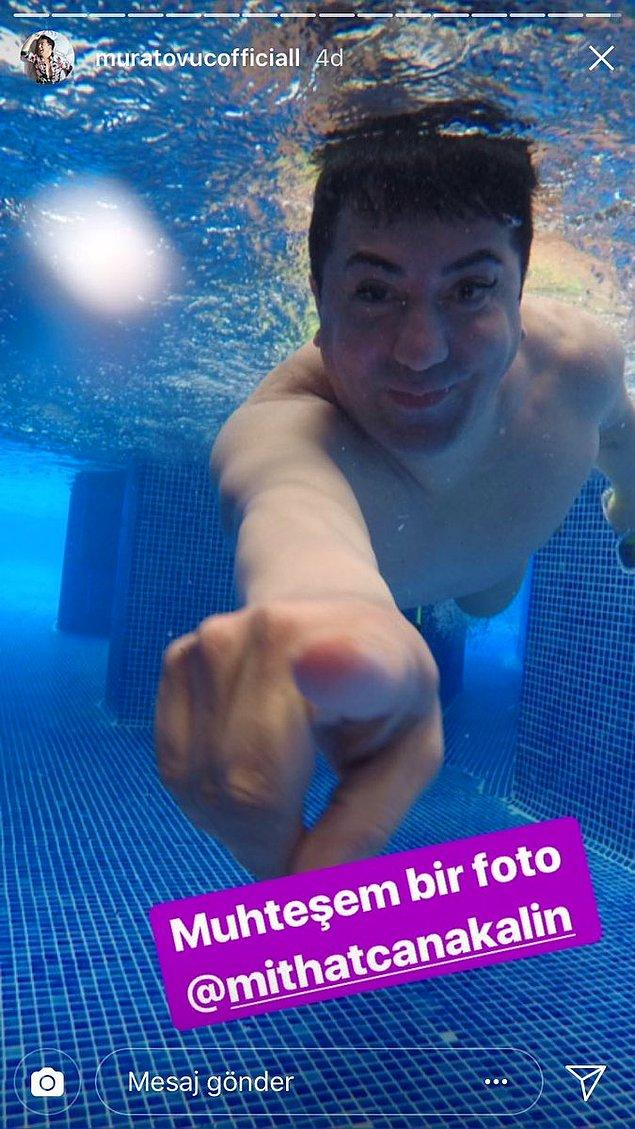 10. Havuzun soğuk sularından gelen bir Murat Övüç, sıcaklarda hararetinizi alacaktır...