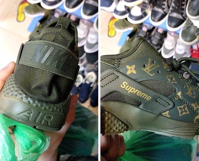 6. Mağazada bulunan çakma ayakkabılar.