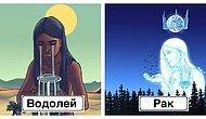 Художница изобразила знаки зодиака в виде богинь, потратив на работу целый год