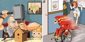 "Супергерои Marvel и DC на пенсии: забавные иллюстрации от автора ""Крошки Ши"""