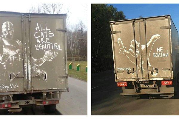 Художник из России продолжает рисовать причудливые картины на грязных автомобилях