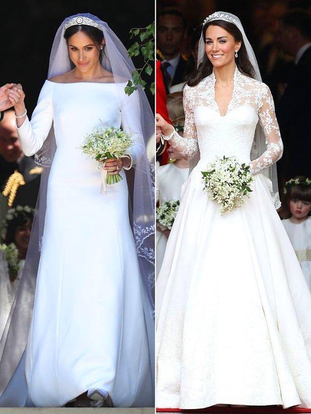 Her ne kadar Meghan Markle'ın gelinlik tercihi beğenilmeyip çok sade bulunsa da ikisi de prenses unvanlarına yakışır güzellikteydi düğünlerinde...