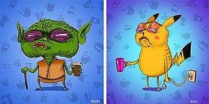 Еще чашечку! Как выглядели бы знаменитые мультяшные персонажи, если бы у них была кофеиновая зависимость