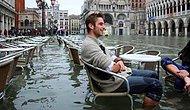 В венецианском ресторане не перестали подавать обеды, несмотря на наводнение