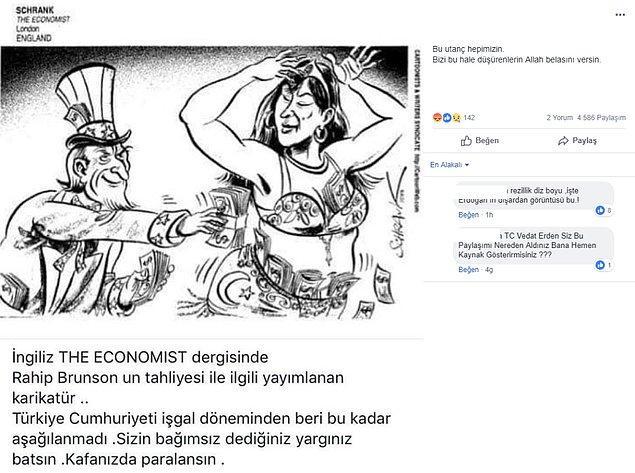 """2. """"The Economist dergisindeki karikatürün Rahip Brunson'ın tahliyesinden sonra yayımlandığı iddiası."""""""