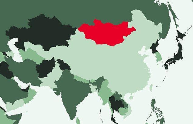 16. Kırmızı ile belirtilen ülke hangisidir?