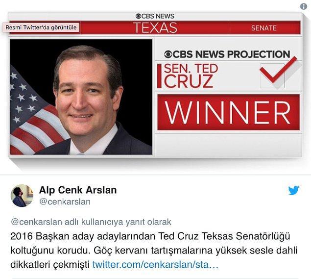 Cumhuriyetçi ve Demokrat adaylar arasında kıyasıya bir mücadeleye sahne olan Teksas eyaletinde Senatör Ted Cruz koltuğunu korumayı başardı.