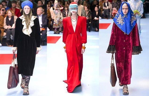 Bu tartışmalar moda dünyasını etkilemiyor. Bu yıl Gucci'nin eşarp, başörtüsü ve boneleri sıkça kullandığı koleksiyonu epey ses getirdi.