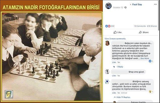 """1. """"Fotoğrafın Atatürk'ün çocuklarla satranç oynadığını gösterdiği iddiası."""""""