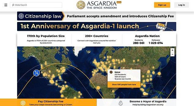 Uzay ülkesi Asgardia'nın başkanı Dr. Igor Ashurbeyli tarafından da onaylanan yasa ile birlikte yıllık 100 Euro vatandaşlık ücreti alınacak.