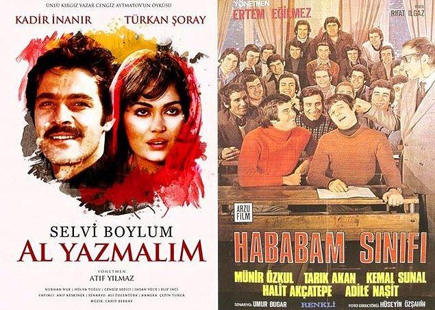 104 kişi, 46 farklı filmi listesinin ilk sırasına yazdı. İlk sırayı iki film paylaştı: 'Selvi Boylum Al Yazmalım' ile 'Hababam Sınıfı'... Siz de en sevdiğiniz Türk filmlerini yorumlarda bizimle paylaşın.