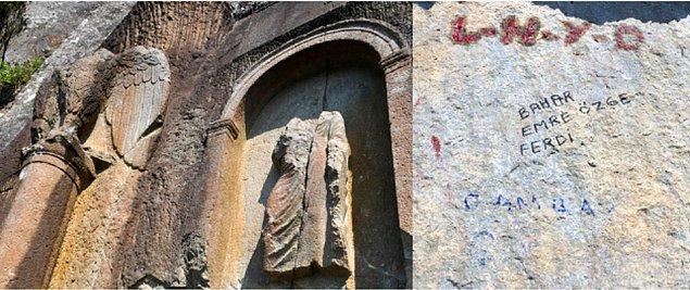 M.S. 41-54 yıllarında yapılan ve Anadolu'nun tek yol anıtı olduğu belirtilen Kuşkayası Yol Anıtı'na isimlerini kazıyanlar...