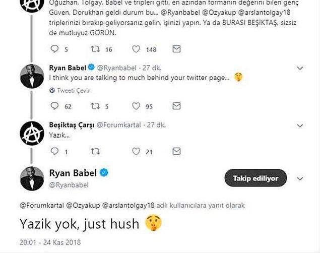 Daha önce twitter hesabından kendisine 'Yazık' diyen takipçisine 'Yazık yok, sadece sus' yanıtını veren Babel bu kez de Instagram'da hayrete düşüren bir çıkış yaptı.