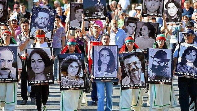 1997'de Sivas'taki Madımak Oteli'nde, 37 aydının yakılması olayıyla ilgili yargılanan 99 sanığın 33'ü ölüm cezasına çarptırıldı.