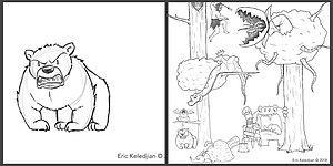 А начиналось все с мишки: художник дорисовывал каждый день по одному персонажу в течении 19 дней, и вот что получилось