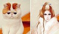 Китайская художница показала, как бы выглядели кошки, если бы были персонажами из аниме