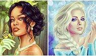 Художница из России рисует знаменитостей в образе принцесс Диснея, и результат просто потрясающий