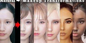 Девушка меняет национальность и расы с помощью макияжа