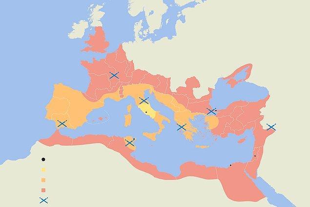 7. En iyi zamanında, Roma İmparatorluğu 2.5 milyon kare millik alan kaplıyordu. Buna rağmen tarihteki en geniş 19. imparatorluktur.