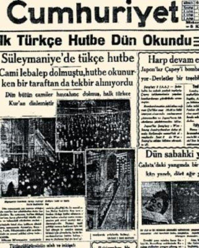 1932: İlk Türkçe hutbe, Süleymaniye Camii'nde okundu.