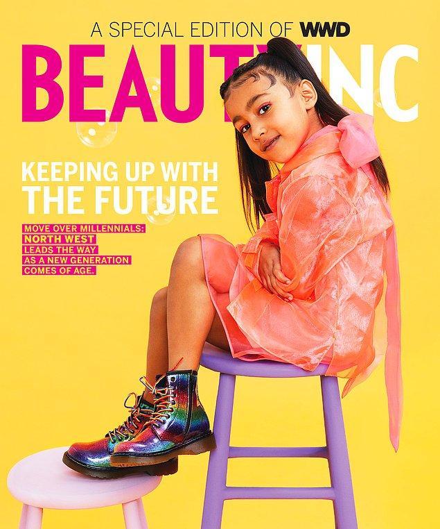 Kim Kardashian'ın 5 yaşındaki kızı North West ilk kez bir derginin kapağında yer aldı.
