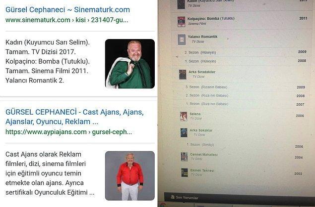 Google aramaları sonucu Cephaneci'nin bir cast ajansına bağlı olduğu ve dizilerde ve filmlerde oynadığı görülüyor.