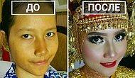 24 фото невест из Азии до и после свадебного макияжа
