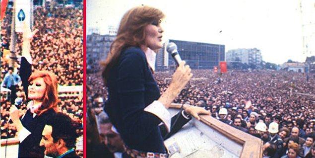 Ayrıca Şenay miting alanlarında şarkı söyleyen ilk şarkıcıydı. Bülent Ecevit'in Karaoğlan olduğu zamanlarda Ecevit'ten önce sahne alıp 'Sev Kardeşim' ve 'Hayat Bayram Olsa'yı söylerdi.