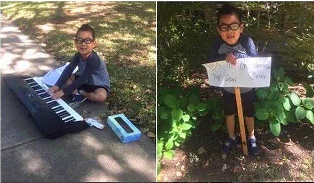 """24. """"Kardeşim, piyanosunu ve boş bir kağıt parçasını alıp dışarı çıktı. Babamın kanser tedavisi için 12 dolar toplamış. Akşam eve geldiğinde bize sürpriz yaptı."""""""