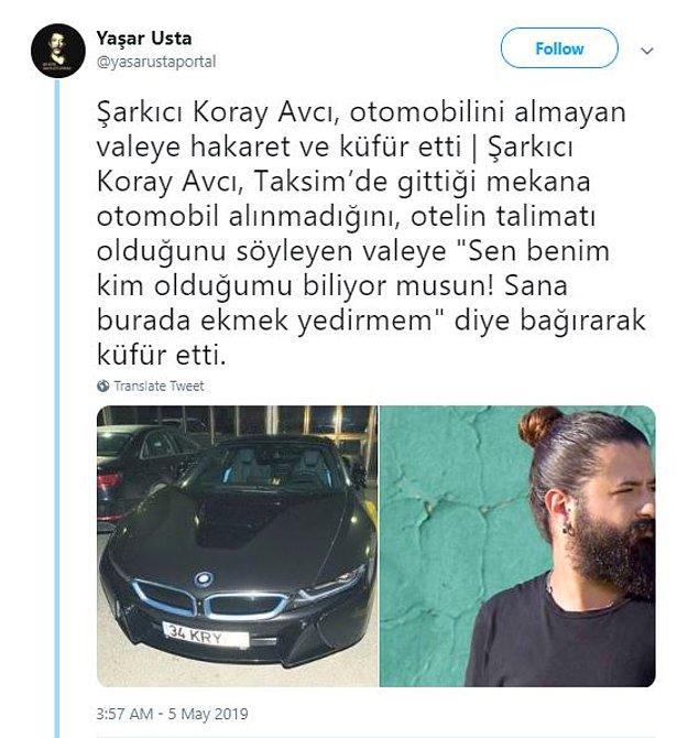 Olayın Twitter'da paylaşılmasıyla da Koray Avcı, hâliyle tepkilerin odağı hâline geldi...