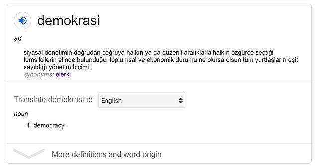 İşte bu da demokrasinin sözlükteki tanımı...
