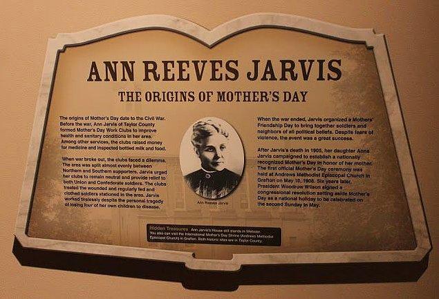 Anna Jarvis'in edebi yeteneği ve ifade gücü sayesinde anneler günü tüm eyaletlere kısa sürede yayıldı.