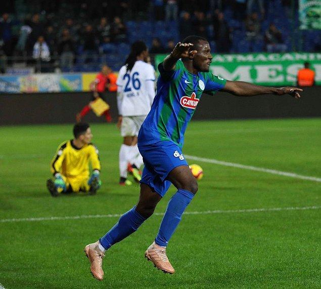 76. dakikada Aminu'nun golüyle 10 kişi mücadele eden Rizespor öne geçti.