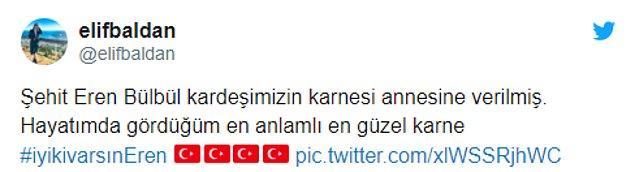 Eren Bülbül'ün karnesiyle ilgili sosyal medyadan da paylaşımlar yapıldı...