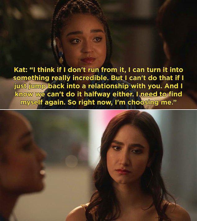 9. The Bold Type'ın üçüncü sezon finalinde Kat, Adena'ya geri dönmeme kararı aldı. Bunun yerine, kendine odaklanacak.