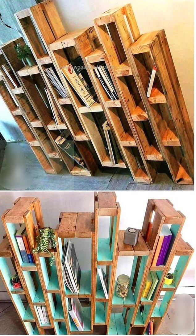 Ya da kitapları artık kütüphanesinden taşmış olanlar için bu ahşap paletlerden yapılmış kütüphane hem şık, hem zengin duruyor, hem de cep dostu.