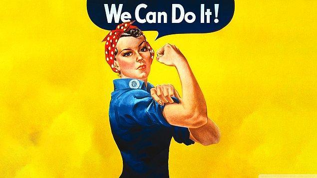 """Hepimiz bu kırmızı bandanalı kadını biliyoruz değil mi? Dünyanın en ikonik posterlerinden biri """"We can do it!""""in geçmişi çok eskilere dayansa da günümüzde popülerliğini hala korumakta."""