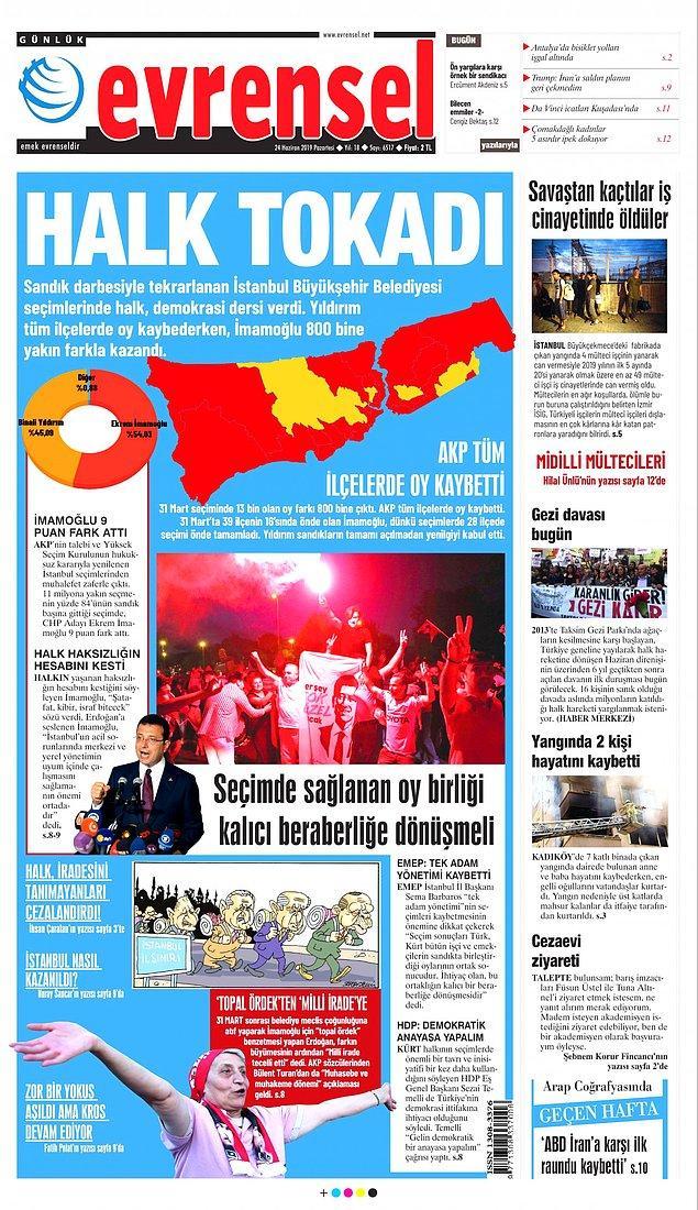 """Evrensel bugün """"Halk Tokadı"""" manşetiyle çıktı, AKP'nin tüm ilçelerde oy kaybettiği vurgulandı."""