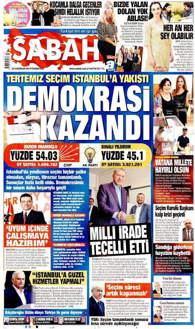 """Sabah """"Demokrasi kazandı"""" başlığı ile seçimi manşete taşıdı."""