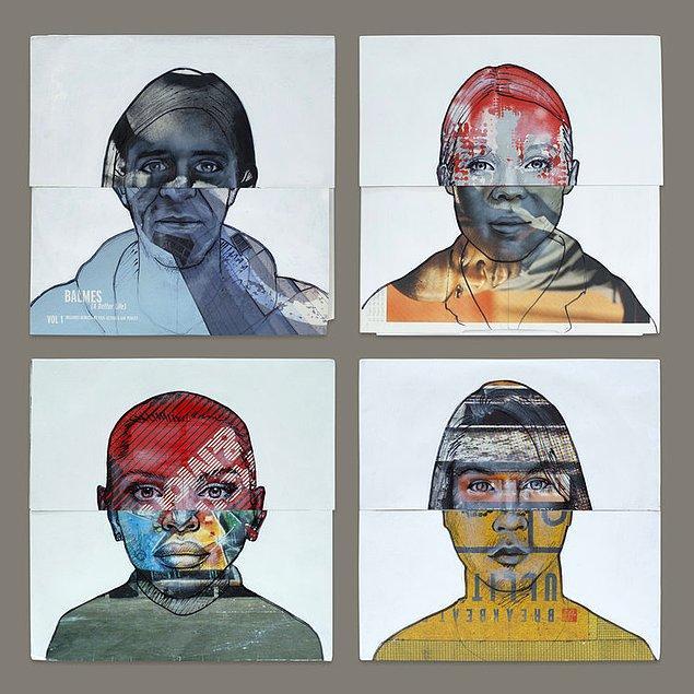 Sanatçının kullanılmış plakların üzerine yaptığı yağlı boya çalışmaları.