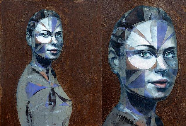 """Gentry'nin """"Efsanevi Mantık"""" adlı paslanmış çelik panel üzerine yağlı boya ve sprey boya ile yaptığı portre çalışması."""