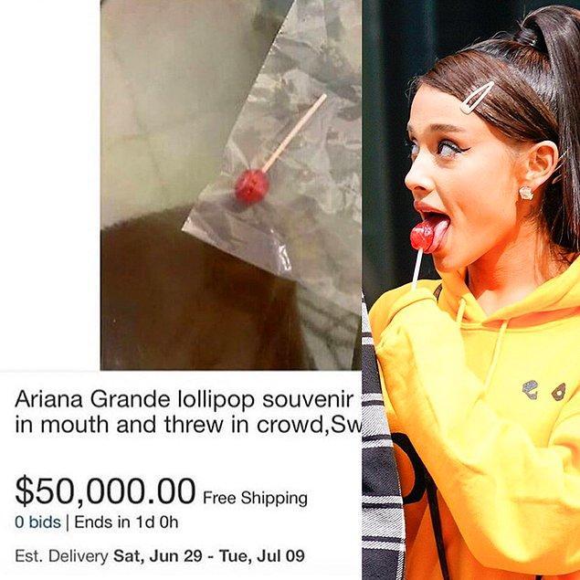 2. Ariana Grande hanımın, konserinde bir kere yalayıp seyirciye fırlattığı lolipopunu yakalayan kişi üşenmemiş ve satılığa çıkarmış.