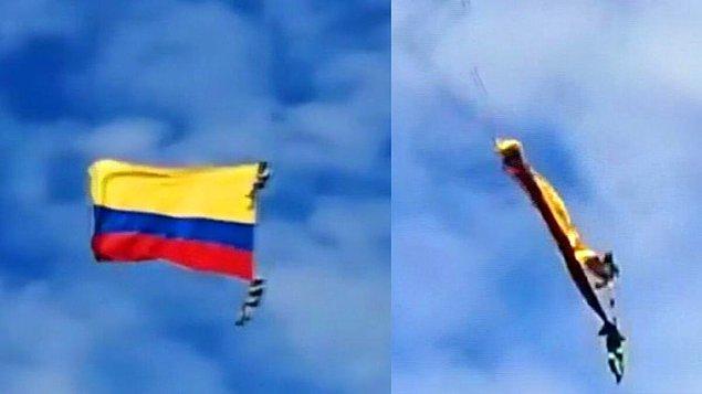 Kolombiya'da iki asker gösteri uçuşu sırasında helikoptere bağlı oldukları ipin kopması sonucu yüzlerce metreden yere çakılarak öldü.