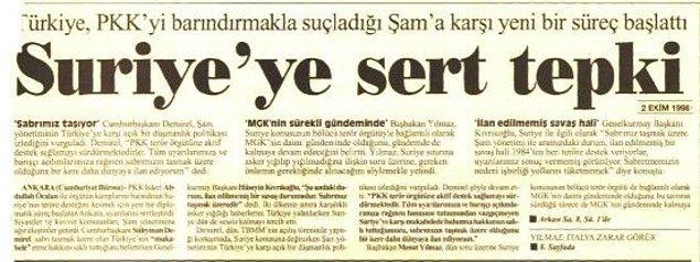 1998 - Türkiye ile Suriye arasında Adana Mutabakatı imzalandı.
