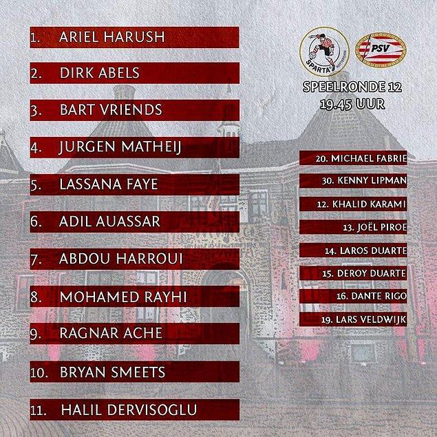 Sparta Rotterdam'ın sahasında PSV ile 2-2 berabere kaldığı maçta Halil İbrahim Dervişoğlu 79 dakika sahada kaldı.
