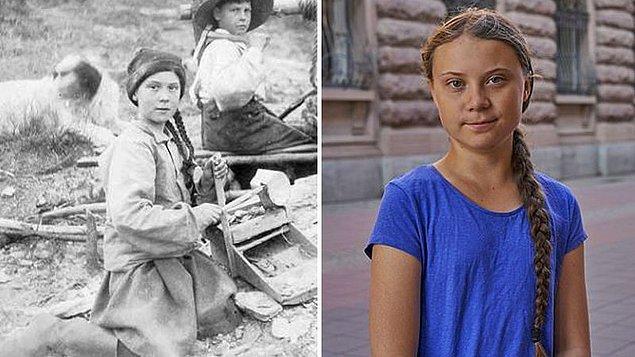 Washington Üniversitesi'nin arşivinde bulunan şu aşağıda görmüş olduğunuz 121 yıllık fotoğraftaki kız çocuğu İsveçli iklim aktivisti Greta Thunberg'e aşırı benzerliğiyle dikkat çekti.